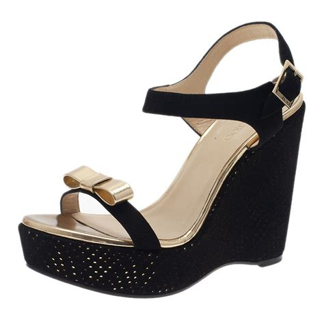 jimmy choo black and gold wedge sandals size 41 buy