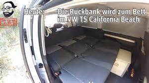 vw t5 bett vw t5 2 california videoanleitung die r 252 ckbank wird