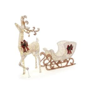 home depot outdoor christmas decorations letter of home accents holiday 60 in 160 light pvc deer and 44 in