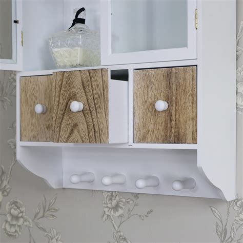 Bathroom Wall Cabinet With Drawers by Wall Wooden Glazed Wall Cabinet Drawers Hooks Storage Unit