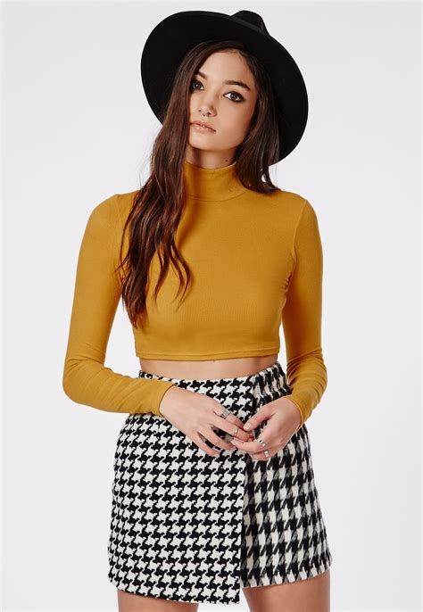 Top Mustard dharma ribbed turtle neck sleeve crop top mustard tops crop tops bralets missguided