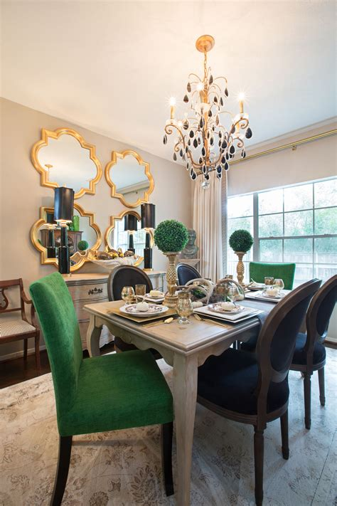 interior table amanda carol interiors emerald green gold mirrors