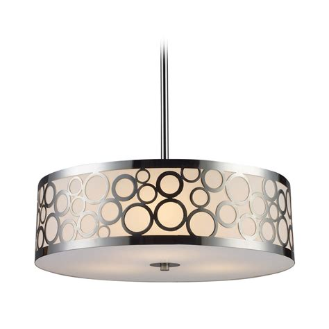 Drum Lighting Pendant Modern Drum Pendant Light With White Glass In Polished Nickel Finish 31025 3 Destination