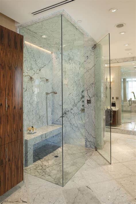 Can you use onyx, marble or granite in a steam shower? What about the ceiling?
