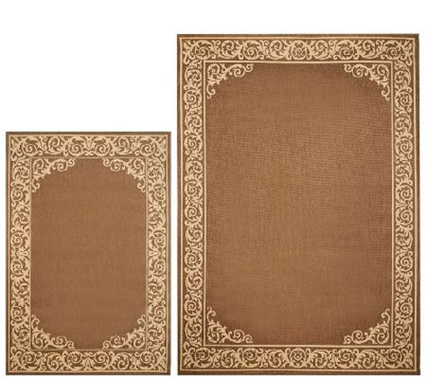 Qvc Outdoor Rugs Veranda Living Border Scroll Design Indoor Outdoor Reversible Rug Qvc