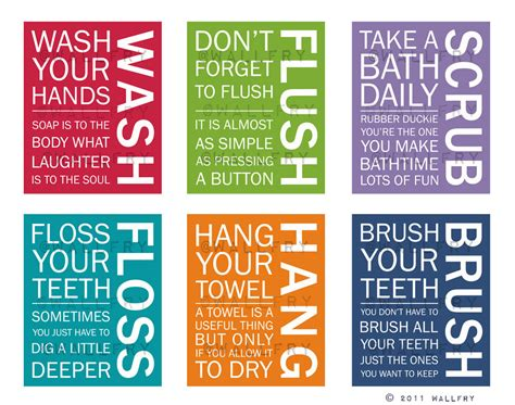 kids bathroom rules full set of 6 bathroom art prints bathroom rules kids