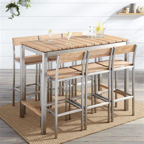 Outdoor Bar Table Set Macon 7 Rectangular Teak Outdoor Bar Table Set Whitewash Outdoor