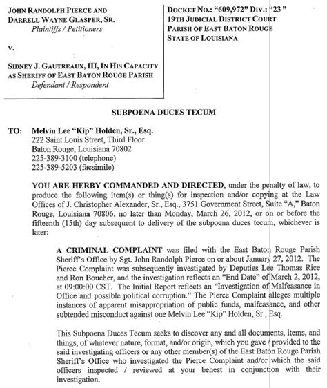 subpoena duces tecum template we saw that march 2012 2015 169