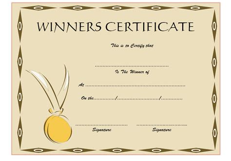 prize certificates templates free winner certificate template 6 the best template collection