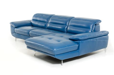 Divani Casa Hobart Modern Blue Leather Sectional Sofa
