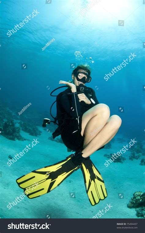sexi dive blond scuba diver stock photo 75494437