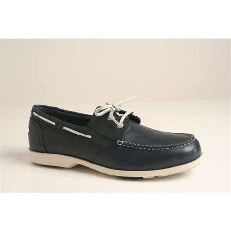 rockport rockport 2 eye boat shoe in grained navy