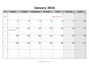 Monday To Sunday Calendar Template by 2016 Week Number Calendar Monthly Monday To Sunday