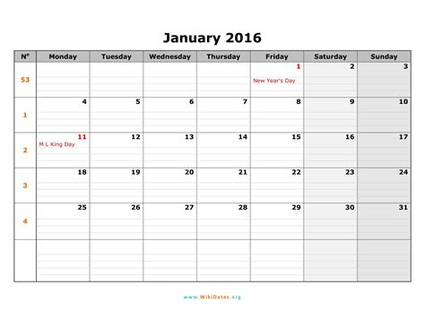 monday to sunday calendar template 2016 week number calendar monthly monday to sunday