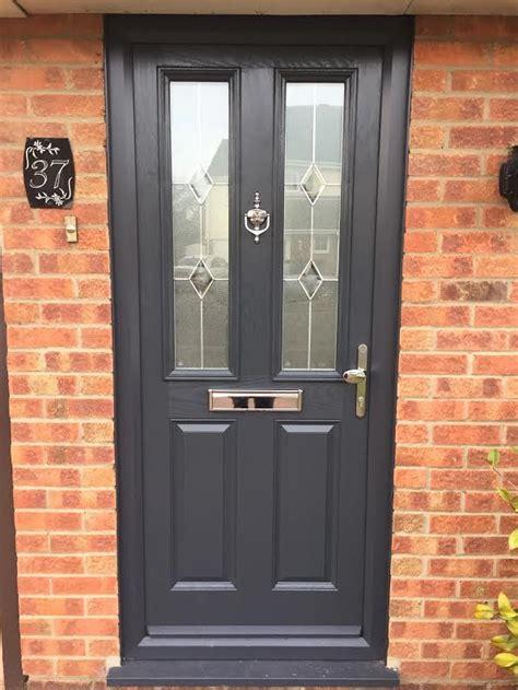 Grey Composite Front Doors 4 Square Glazed Composite Front Door In Grey