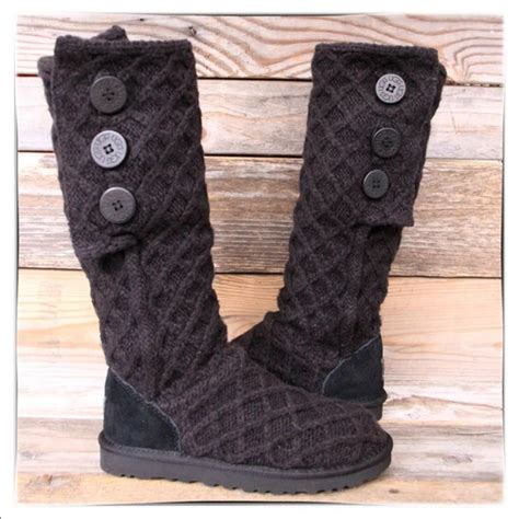 53 ugg shoes ugg lattice cardy black knit