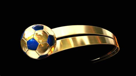 A Gold And Blue Soccer Ball Swooshing Into Screen Being Trailed By A Gold Ribbon Swoosh On An