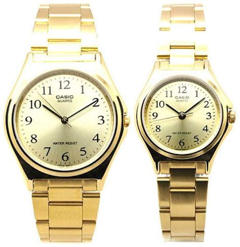 casio analog metal fashion in gold colour for
