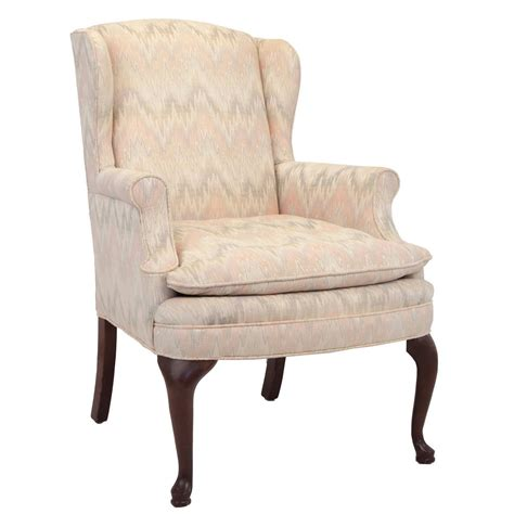 queen anne armchair queen anne style upholstered wing chair at 1stdibs