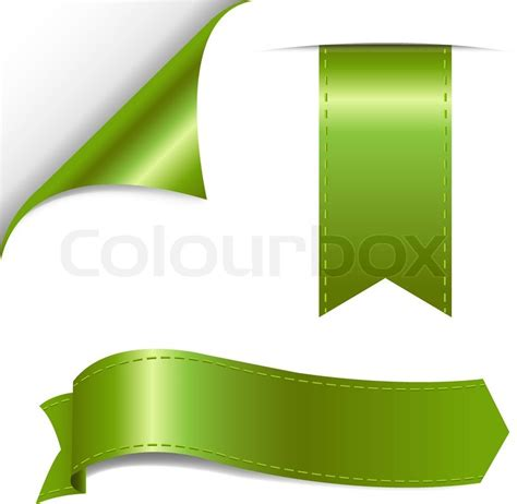 green ribbon set vector illustration stock vector