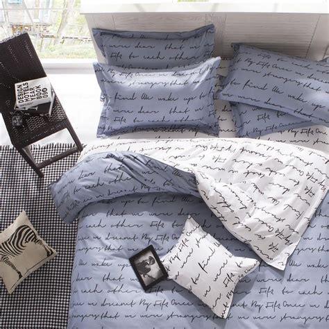 Modern Bed Sheet Sets 50 Cotton 50 Polyester Microfiber Bed Sheet Gray White Words Bedding Modern Bedding