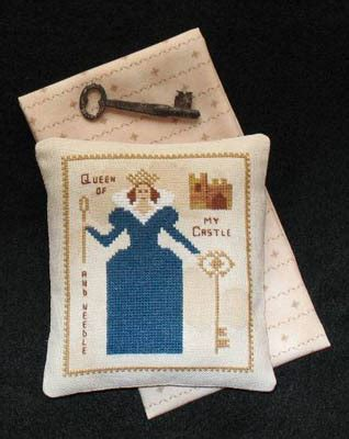 queen of my castle and needle cross stitch chart primitive