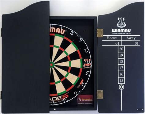 winmau dartboard in cabinet winmau dual core blade 5 five dart board black wooden