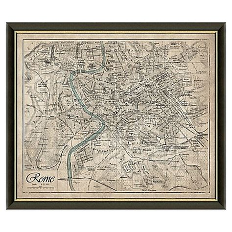 rome decoration hand framed map of rome italy wall d 233 cor bed bath beyond