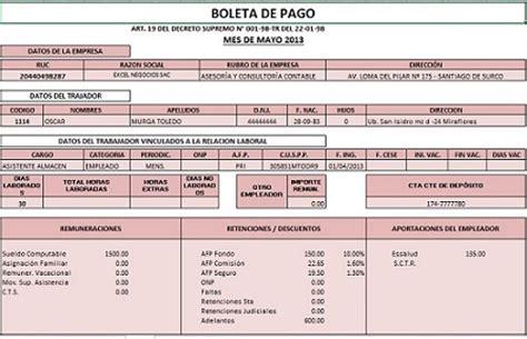 planilla excel liquidacin de sueldos de los trabajadores planilla de remuneraciones con boletas de pago en excel
