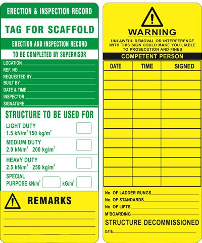 printable scaffold tags scaffold tag