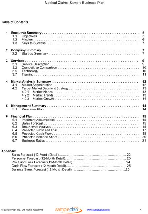 medical claims business plan table of contents