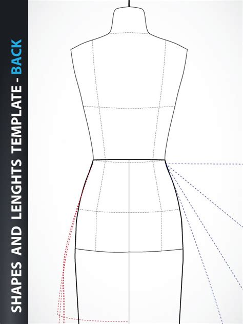 fashion design skirt and dress drawing template back
