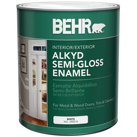 home depot exterior paint quart behr 1 qt white alkyd semi gloss enamel interior exterior