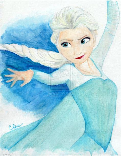 painting frozen elsa from disney s frozen watercolor by julesrizz on