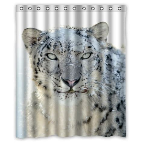snow leopard shower curtain greendecor snow leopard waterproof shower curtain set with