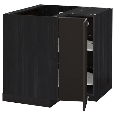 metod corner base cabinet with carousel black kungsbacka
