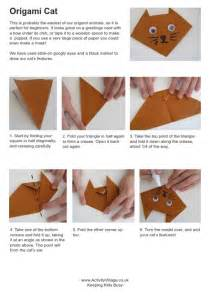 Origami Activity - simple origami cat for to fold