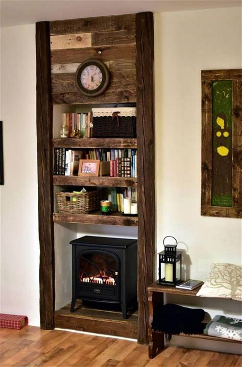fireplace with shelves pallet faux fireplace with shelves 99 pallets