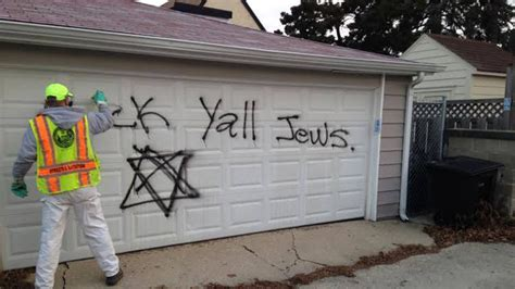 spray painter wetherill park vandals spray anti semitic graffiti on synagogue garages