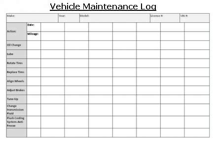 Vehicle Maintenance Vehicles Luxury Coach Transportation Vehicle Maintenance Log Template