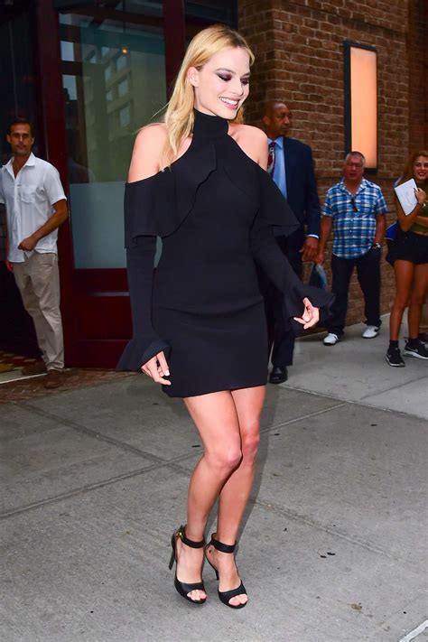 margot robbie in black mini dress out in new york