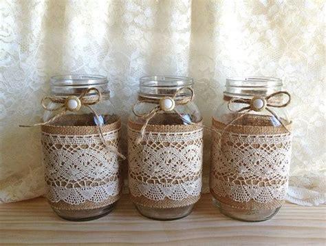 decorar jarrones con yute arpillera y encaje cubiertos 3 jarrones de tarro de mas 243 n