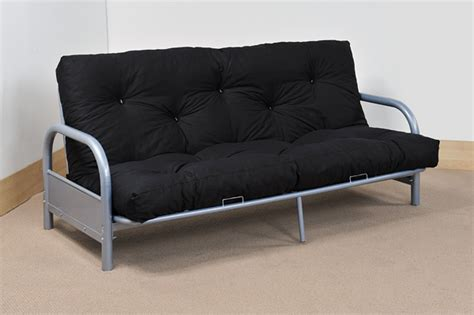 Steel Sofa Bed Modern Three Seater Silver Metal Futon Sofa Bed
