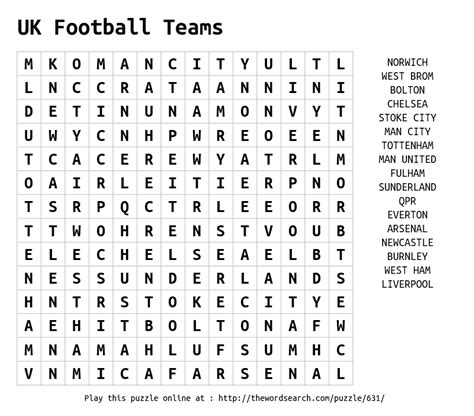 Uk Search For Uk Football Teams Word Search