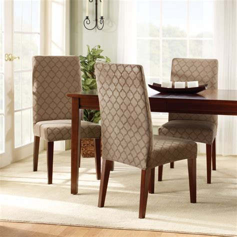 How To Cover A Dining Room Chair Dining Room Chair Slipcovers For On Budget Re Decoration Designwalls