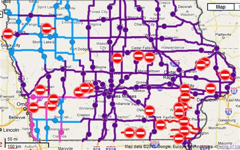 iowa road conditions color map iowa road conditions color map