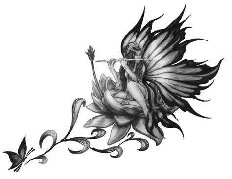 black fairy tattoo designs lotus flower drawings for tattoos on lotus by