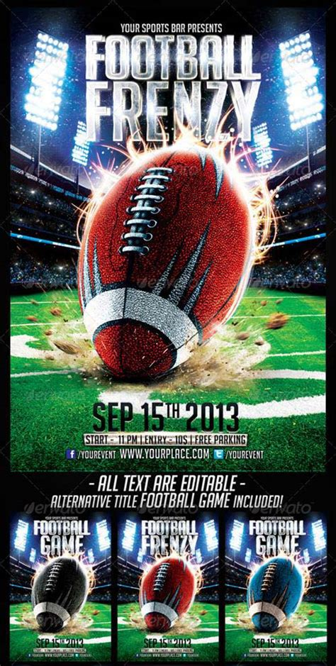 free football flyer templates graphicriver football frenzy flyer template