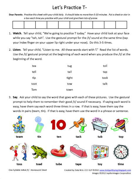 speech therapy worksheets for preschoolers testy yet trying initial t homework sheet free speech therapy articulation worksheet