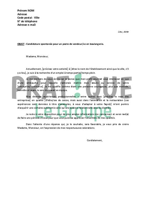 Vendeur Chocolaterie Lettre Motivation modele lettre motivation vendeuse boulangerie